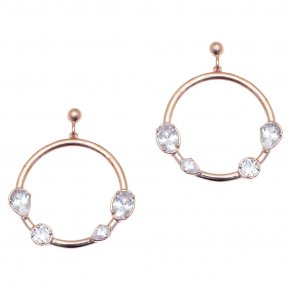 Earrings in silver 925 pink gold plated and with white zirconia - Mouses