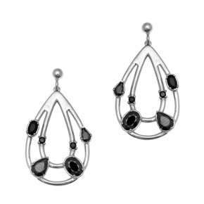Earrings in silver 925 rhodium plated with black spinel - Mouses