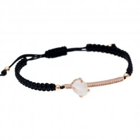 Cord Bracelet in silver 925, pink gold plated with moonstone and white zirconia - Nymfes