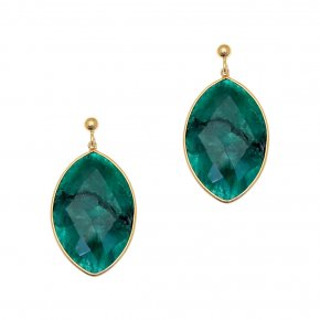 Earrings Silver 925 pink gold with emerald - Petra