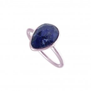 Ring silver 925 pink gold plated with ruby - Petra