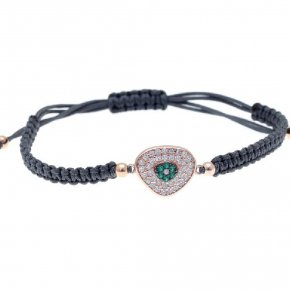 Cord Bracelet in silver 925, pink gold plated with green andwhite zirconia - Irida