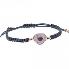 Cord Bracelet in silver 925, pink gold plated with pink andwhite zirconia - Irida