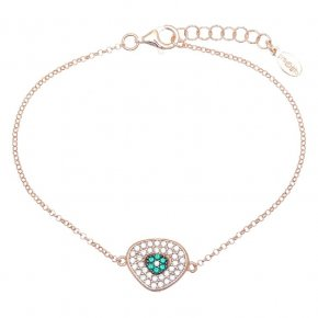 Bracelet in silver 925, pink gold plated with green and white zirconia - Irida