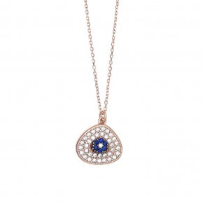 Necklace in silver 925, pink gold plated with turquoise andwhite zirconia - Irida