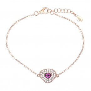 Bracelet in silver 925 pink gold plated with pink and white zirconia - Irida