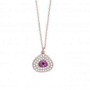Necklace in silver 925 pink gold plated with pink and white zirconia - Irida