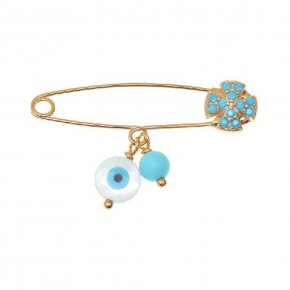 Pin in gold 14 carats with an eye shaped motif - Genessis Gold