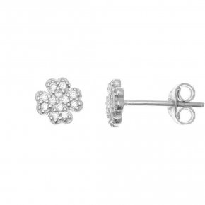 Earrings in white gold 14 carats with white zirconia - ETERNAL