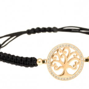 Cord Bracelet in silver 925 yellow gold plated with white zirconia - Zoe