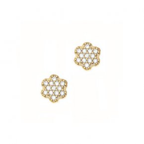 Earrings Silver 925 pink gold plated with white zirconia - Sirens