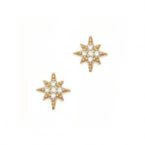 Earrings in silver 925 gold plated with white zirconia - Sirens