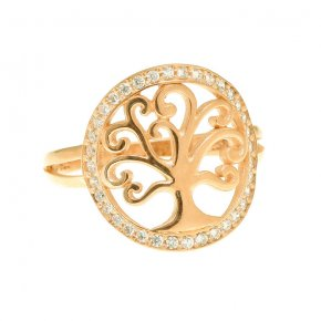Ring Silver 925 yellow gold plated with white zirconia - Zoe