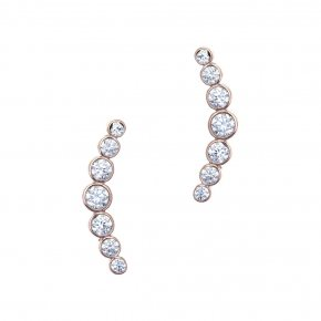 Earrings in silver 925 pink gold plated with white zirconia - Simply Me