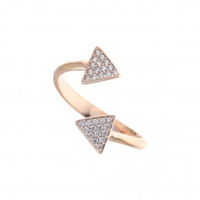 Ring in Silver 925 pink gold plated with white zirconia - WANNA GLOW