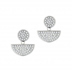 Earrings in silver 925 rhodium plated with white zirconia - WANNA GLOW
