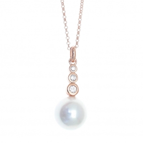 Necklace in silver 925 pink gold plated with shell pearls - Simply Me
