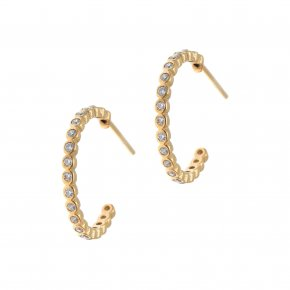 Earrings in silver 925 gold plated with white zirconia - Simply Me