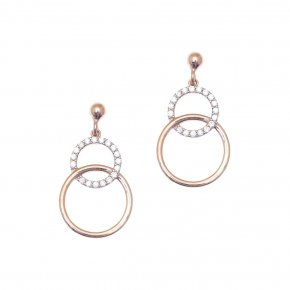 Earrings in silver 925 pink gold plated with white zirconia - WANNA GLOW