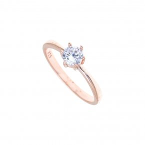 Ring in silver 925 pink gold plated with white zirconia - Simply Me