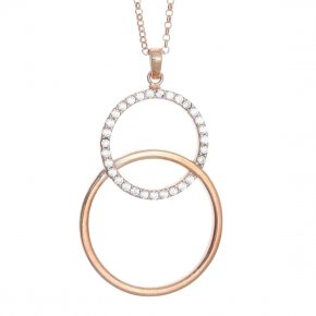 Necklace in silver 925 pink gold plated with white zirconia - WANNA GLOW