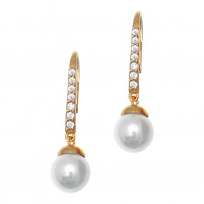 Earrings in silver 925 gold plated with zirconia & shell pearls - Simply Me