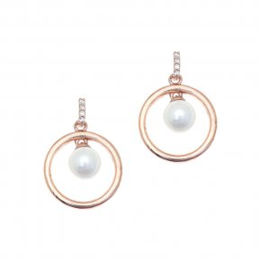 Earrings in silver 925 pink gold plated with shell pearls - Simply Me
