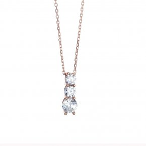 Necklace in silver 925 pink gold plated with white zirconia - Simply Me