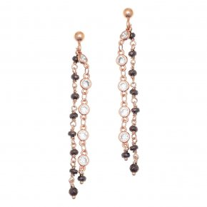 Earrings metal pink gold plated with synthetic stones - Aigaio