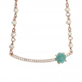 Necklace silver 925 pink gold plated & with fresh water pearls, amazonite and white zirconia - Nymfes