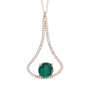 Necklace silver 925 pink gold plated & with treated emerald and white zirconia - Color Me