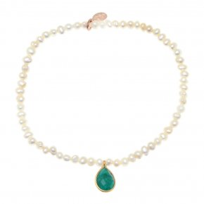 Bracelet silver 925 pink gold plated & with fresh water pearls and treated emerald - Petra