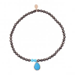 Bracelet silver 925 pink gold plated & with hematite and turqoise - Petra
