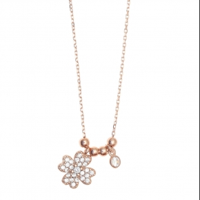 Necklace silver 925 pink gold plated & with white zirconia - Sirens