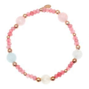Bracelet silver 925 pink gold plated & with colored stones and crystals - Chroma