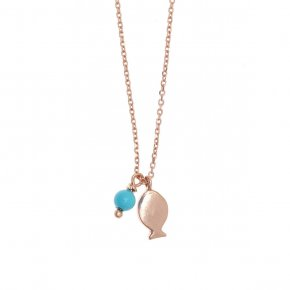 Necklace silver 925 pink gold plated with synthetic stones - Sirens