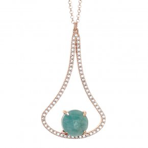 Necklace silver 925 pink gold plated & with amazonite and white zirconia - Nymfes
