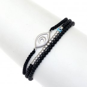 Bracelet silver 925 rhodium plated & with onyx - My Man