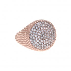 Ring silver 925 pink gold plated & with white zirconia - WANNA GLOW