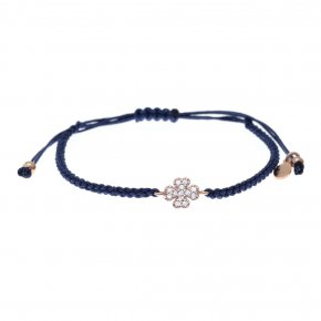 Cord Bracelet in silver 925 rose gold plated with whitye zirconia - Sirens