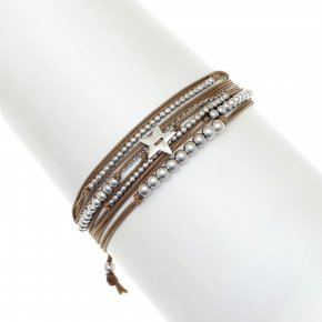 Bracelet silver 925 rhodium plated with cord - Aegis