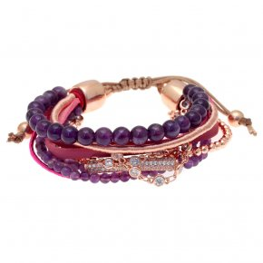 Bracelet metal pink gold plated & with amethyst and white zirconia with cord - Amazona