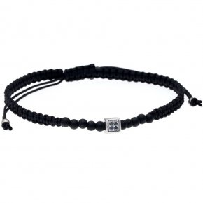 Bracelet silver 925 rhodium plated & with black spinels with cord - My Man