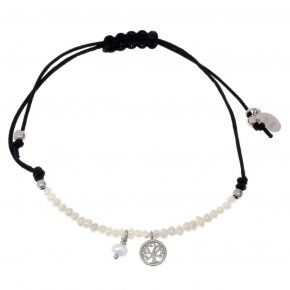 Bracelet silver 925 rhodium plated & with fresh water pearl with cord - Sirens