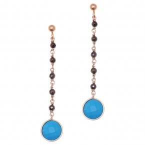 Earrings silver 925 pink gold plated & with hematite and turqoise - Petra
