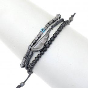 Bracelet silver 925 black rhodium plated & with hematite - My Man