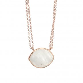 Necklace silver 925 pink gold plated & with moonstone - Petra