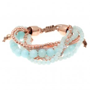 Bracelet metal pink gold plated & with colored stones and white zirconia with cord - Amazona