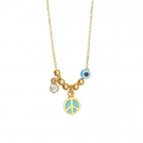 Necklace silver 925 gold plated & with enamel, evil eye and white zircon - Wish Luck