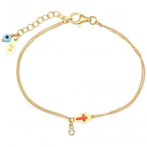 Bracelet silver 925 gold plated & with enamel, evil eye and white zircon - Genesis Jewellery